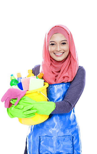 indonesian maid from singapore maid agency holding pails full of cleaning products